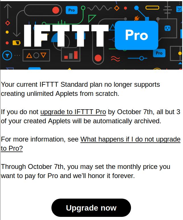 IFTTT passe payant